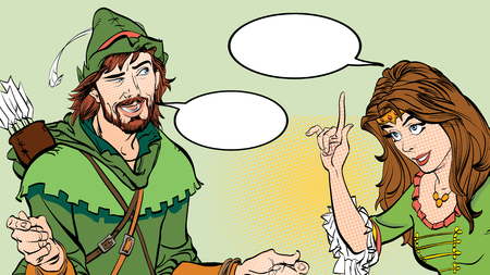 Man and woman, princess teaching Robin Hood. Lady in medieval dress and Robin Hood. Illustration