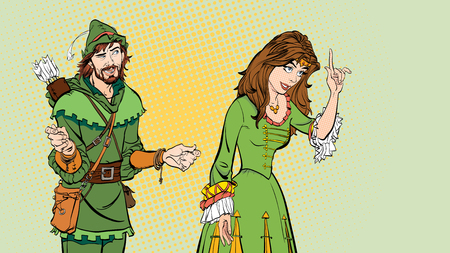 Man and woman, princess teaching Robin Hood. Lady in medieval dress and Robin Hood. 일러스트