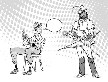 Journalist writes the text. Journalist interviewing Robin Hood. Retro journalist. Ilustracja