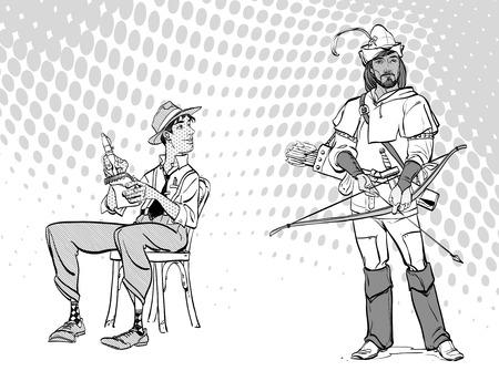 Journalist writes the text. Journalist interviewing Robin Hood. Retro journalist. Vectores