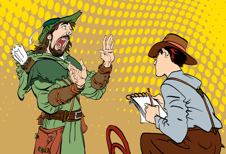 Journalist writes the text. Journalist interviewing Robin Hood. Robin hood telling fables. Retro journalist. Concept idea of advertisement. Halftone background.