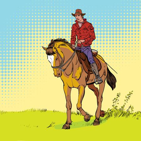 Cowboy on horse. Horsemanship. Cowboy on horse ride vintage vector poster. The world of the wild West. Ilustração