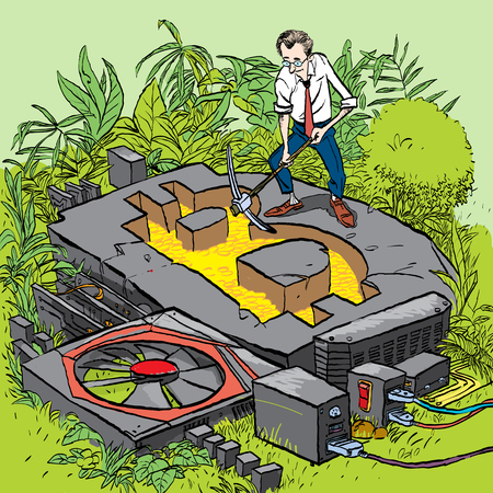 Cryptocurrency concept with businessman miner. Man with shovel and pickaxe working in bitcoin mine