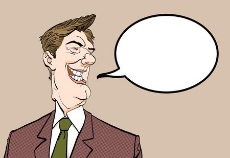 Smiling man. Happy businessman. Elderly successful businessman cartoon. Illustration