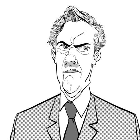 Portrait d'homme doutant. Homme rétro déçu. Homme frustré. Illustration de style rétro pop art. Les gens dans un style rétro.