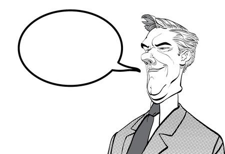 Ironic man. Malevolent politician. Cartoon character. Halftone background.