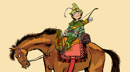 Little Robin Hood on a horse. Robin Hood childhood. Child Robin Hood. Medieval legends. Heroes of medieval legends. Halftone background. Stock Illustratie