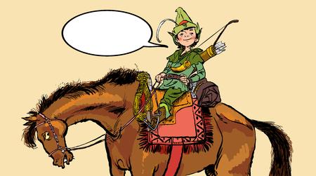 Little Robin Hood on a horse. Robin Hood childhood. Child Robin Hood. Medieval legends. Heroes of medieval legends. Halftone background. Illustration