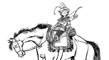 Little Robin Hood on a horse, heroes of medieval legends. Standard-Bild