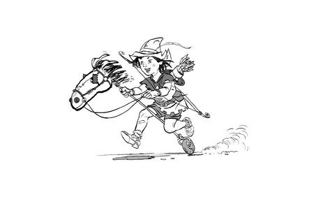 Little Robin Hood riding toy horse. Robin Hood childhood. Child Robin Hood. Medieval legends. Heroes of medieval legends. Halftone background. Illustration