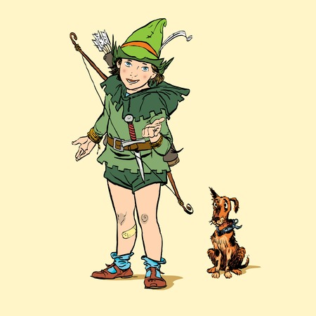 Little Robin Hood with a dog. Boy and his dog. Robin Hood childhood. Child Robin Hood. Medieval legends. Heroes of medieval legends. Halftone background.