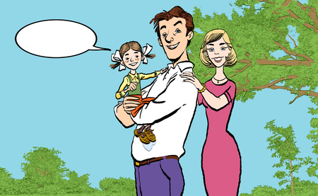 Flat vector image of a happy family. Dad holding daughter on hands. Father, mother and daughter. Çizim
