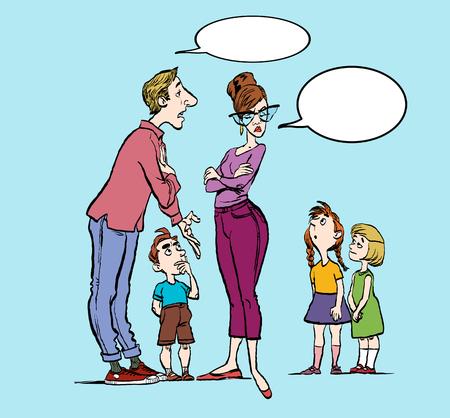 Parents quarrel and child listen. Family conflict. Parents and three children. Cartoon vector illustration