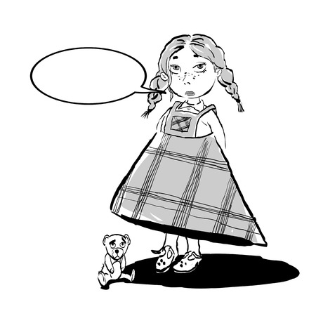 Cute sad girl and teddi bear. Vector illustration.