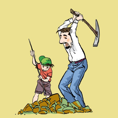 Miners, prospectors or gold diggers with pick axe. Father and son mining. Family business. Vector illustration of a Miners.