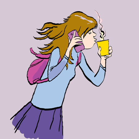 Teenager holding a phone and a cup of coffee. Girl speaking by a phone and drinking a coffee. Vector illustration. 일러스트