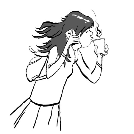Teenager holding a phone and a cup of coffee. Girl speaking by a phone and drinking a coffee. Vector illustration. Illustration