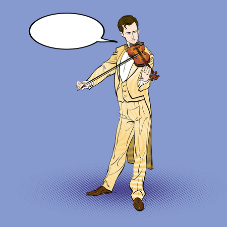 Violinist man character playing music. Classical musician. Vector cartoon illustration