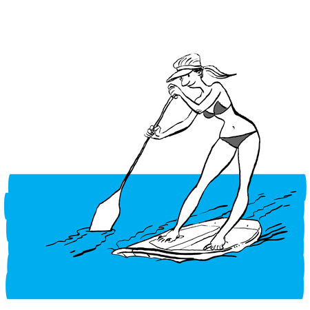Woman doing Stand Up Paddling on Paddle Board on Water at Seaside. Stand Up Paddle Workout Çizim
