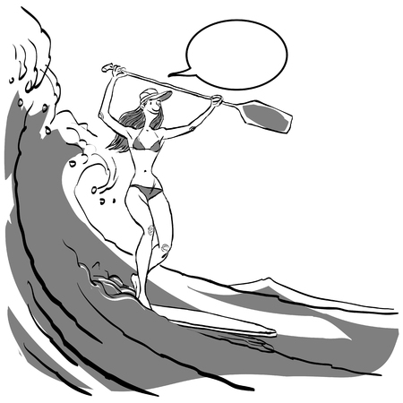 Woman doing Stand Up Paddling on Paddle Board on Water at Seaside. Stand Up Paddle Workout Ilustração