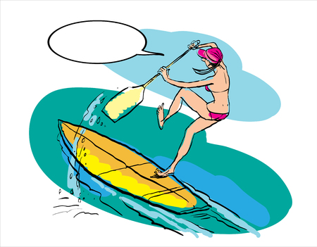 Woman doing Stand Up Paddling on Paddle Board on Water at Seaside. Stand Up Paddle Workout Illustration