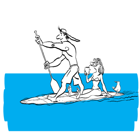 Couple doing Stand Up Paddling on Paddle Board on Water at Seaside. Stand Up Paddle Workout