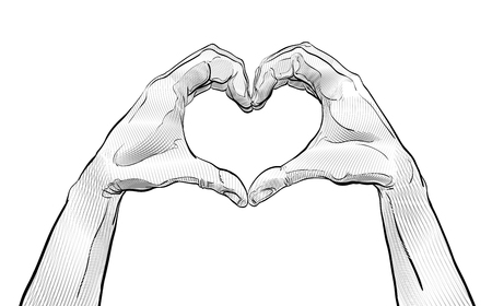 Heart from hand. Vector elements. Hands shaping heart. Symbol of love and help.
