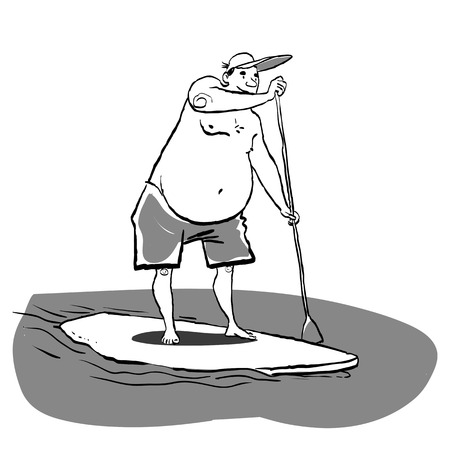 Fat man doing Stand Up Paddling on Paddle Board on Water at Seaside. Stand Up Paddle Workout