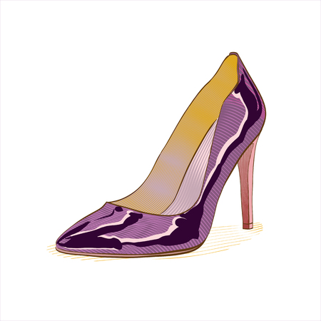 The image of the modern stylish woman shoe. Hand drawn shoe.