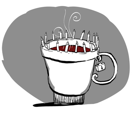 Prohibition sign. No coffee. Hand-drawn coffee cup. Cup with stakes at the edges. Çizim