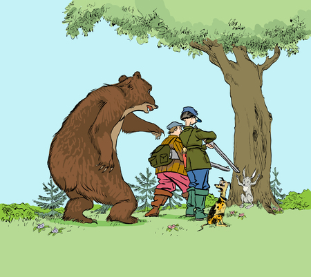 Vector caricature. Bear hunting hunters. Hunter trophy hunt prey of bear and hare for hunting season