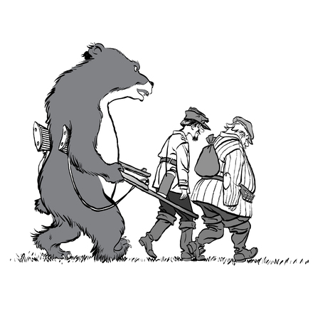 Vector caricature. Bear hunting hunters. The bear arrested the hunters.