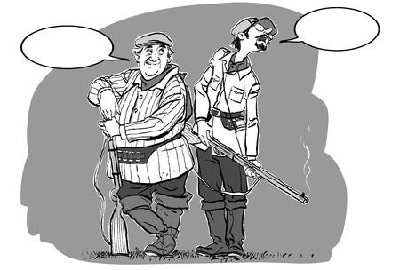 Caricature. Hunters losers. Cartoon illustration of a hunters