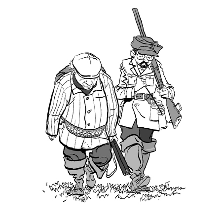 Hunters losers. Cartoon illustration of a hunters with a sad expression.