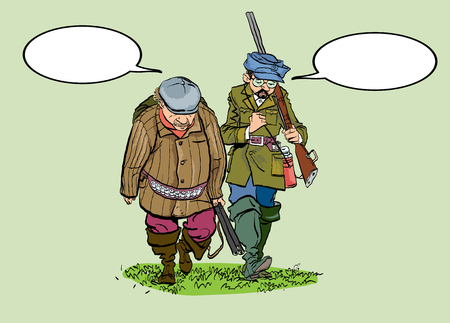 Caricature. Hunters losers. Cartoon illustration of a hunters with a sad expression.