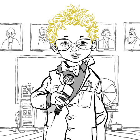 The boy with the microphone. Future profession. Future journalist. Professions Vector Boy