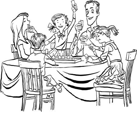 Los padres con sus hijos pequeños jugando juntos al juego de mesa en casa. Concepto de vacaciones familiares. Ilustración de dibujos animados de vector aislado sobre fondo blanco