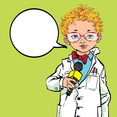 The boy with the microphone. Future profession. Future journalist. Professions Vector Boy 向量圖像