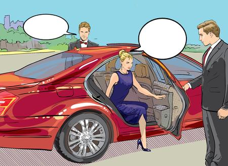Caractère détaillé de vecteur riche et belle célébrités, femme blonde en robe de soirée marchant sur un tapis avec limousine Vecteurs
