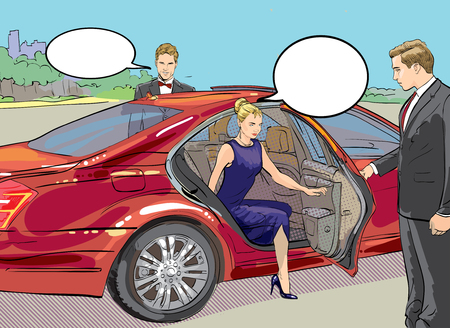 Vector detailed character rich and beautiful celebrities, blond woman in evening dress walking on a carpet with limousine