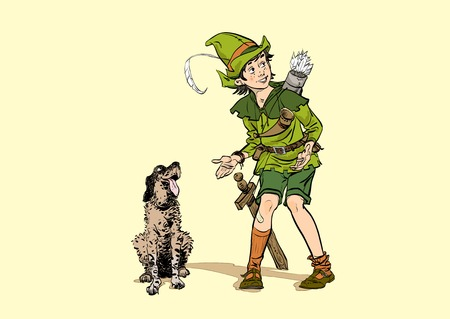 Little Robin Hood and a dog. Boy and his dog. Robin Hood childhood. Child Robin Hood. Medieval legends. Heroes of medieval legends.