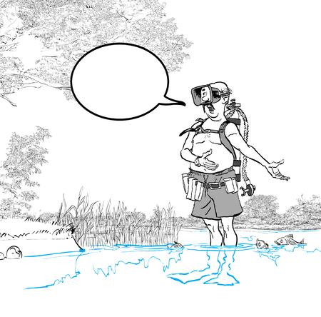 Diver man in mask singing. Cartoon vector illustration Stok Fotoğraf