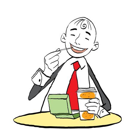 Happy smiling man eating in cafe. Fast food. Junk food. Vector flat cartoon illustration