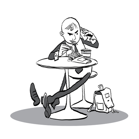 Man in a cafe talking with phone. Man having angry conversation. Vector illustration.