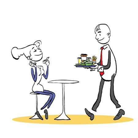 Man brings dinner. Couple having a dinner in cafe. Man and woman in a cafe. Vector illustration. Çizim