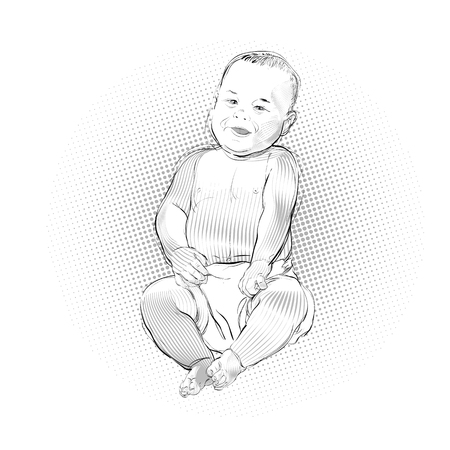 Sweet little boy sitting and smiling, isolated on blue background. Vector illustration. Çizim
