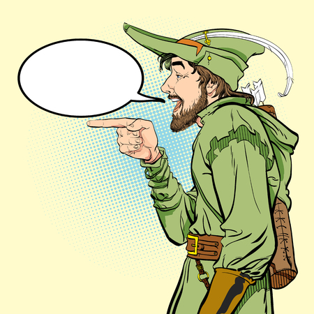 Robin Hood in a hat with feather. Young soldier. Noble robber. Defender of weak. Medieval legends. Heroes of medieval legends. Halftone background. 일러스트