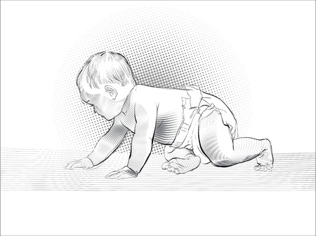 Crawling baby. Vector Illustration of Cartoon Baby learn to crawl Stok Fotoğraf - 126203909