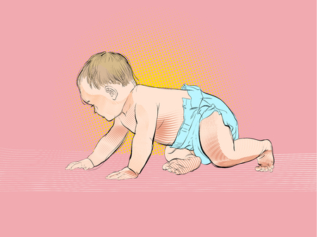 Crawling baby. Vector Illustration of Cartoon Baby learn to crawl Çizim