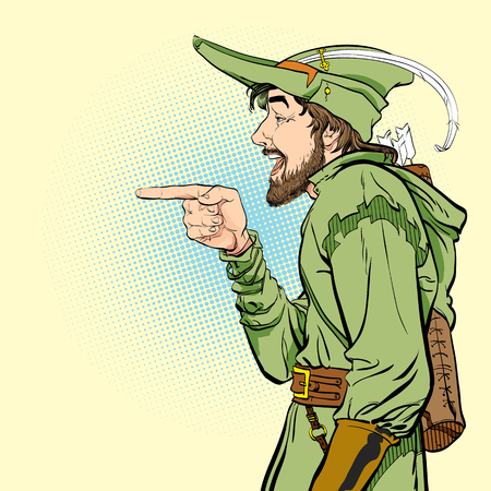 Robin Hood in a hat with feather. Young soldier. Noble robber. Defender of weak. Medieval legends. Heroes of medieval legends. Halftone background. Stok Fotoğraf - 126203912